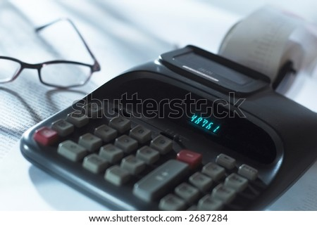 Calculator and glasses