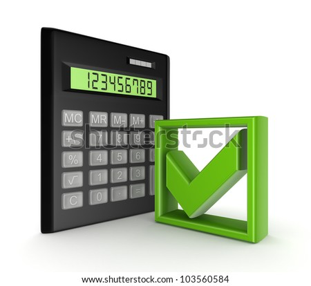 Calculator and green tick mark symbol.isolated on white background.3d rendered.