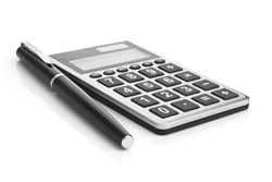 Calculator and pen isolated on white background