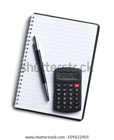 calculator and pen on blank notebook. Shot on white background