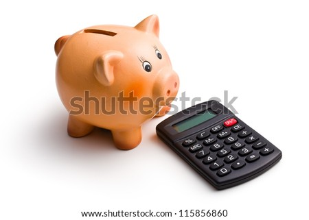 calculator and piggy bank on white background