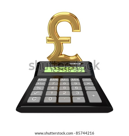 Calculator and pound sterling sign. Isolated on white background. 3d rendered.
