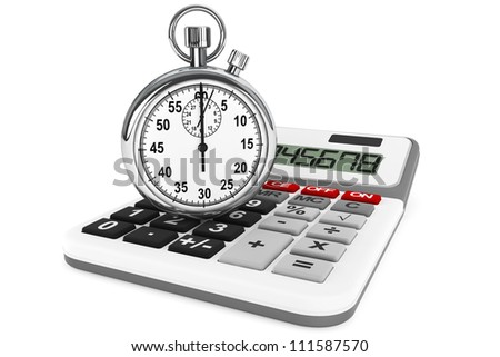Calculator and StopWatch on a white background