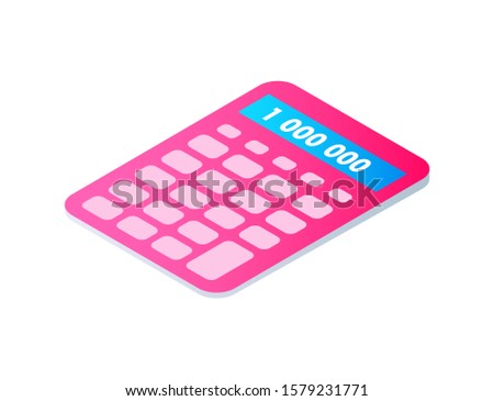 Calculator cartoon isolated single raster icon. Pocket calculating machine, mathematical tool, of pink color with pale buttons, 3d isometric design