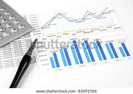 calculator, charts, pen, workplace businessman, business collage