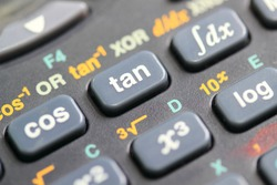 Calculator close-up shot focus on Sine, Cosine, Tangent