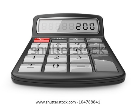 Calculator 3D. Science object. Isolated on white background
