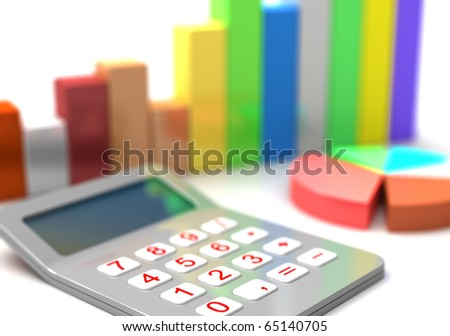 Calculator diagram  and business chart 3d