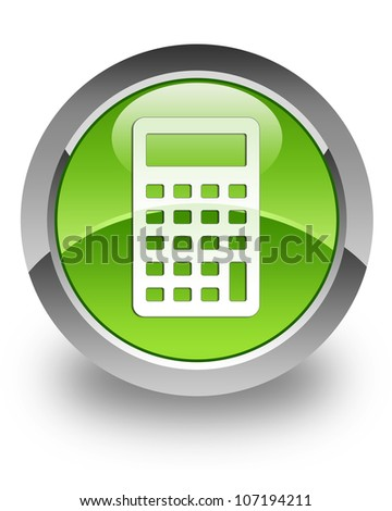 Calculator icon on glossy green round button