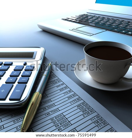 Calculator, laptop and pen with financial documents.