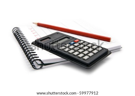 calculator notebook and pencil