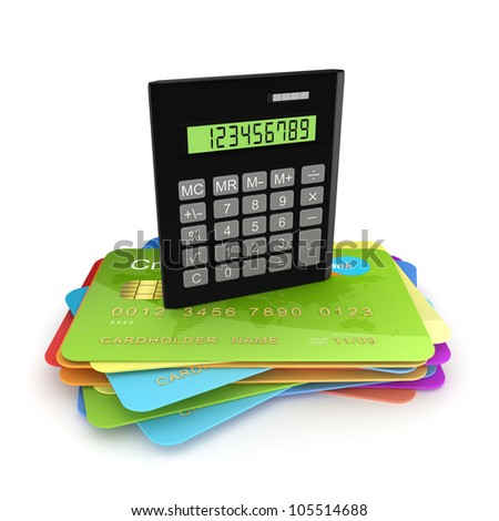 Calculator on a colorful credit cards.Isolated on white background.3d rendered. - stock photo