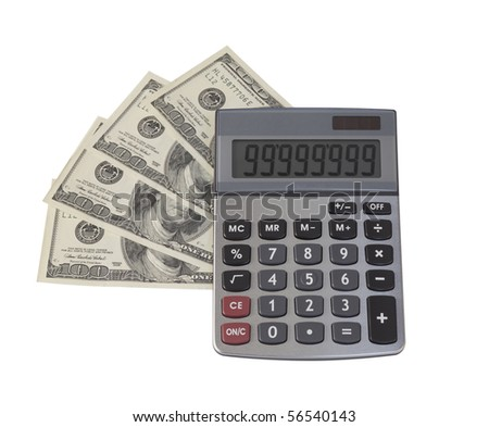 Calculator on US dollars background,isolated  on white with clipping path. - stock photo