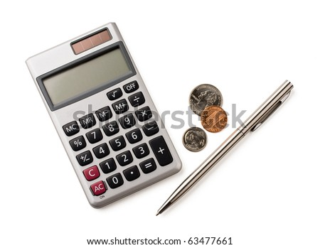 Calculator, pen and coins isolated on white.