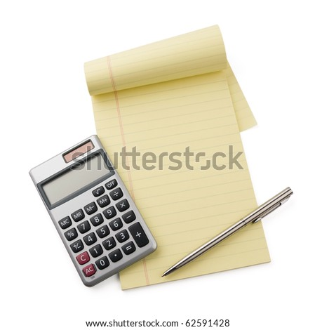 Calculator, pen laying on blank notebook.  Concept of finance.