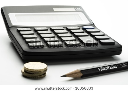 calculator, pencil and small change on white