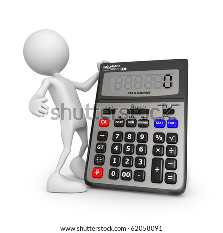 Calculator Small Unrecognizable People On 3d High Quality