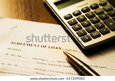 Calculator with financial or loan contracts.