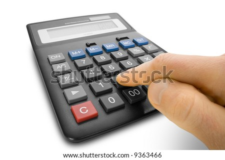 calculator with finger isolated on white