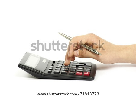 calculator with hand