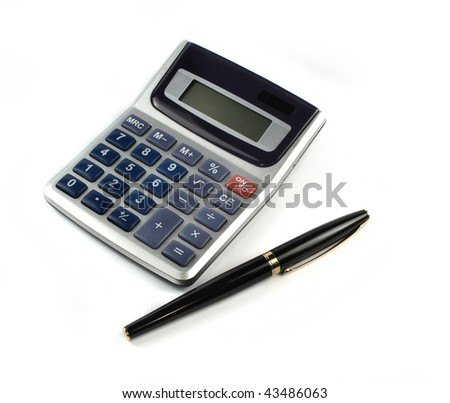 Calculator with pen isolated on white background