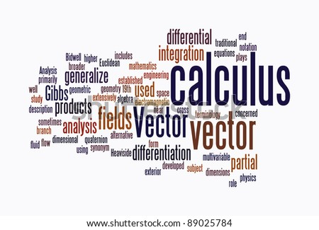 calculus text clouds on isolated background