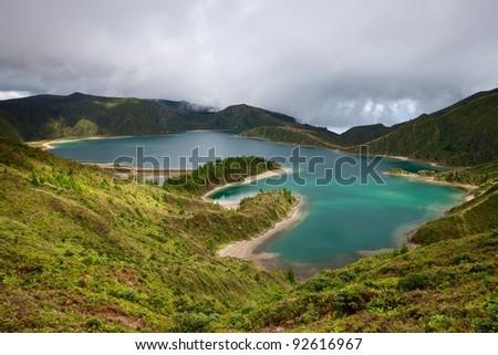 Caldera Lago di Fogo - lake on the island of Azores in Portugal