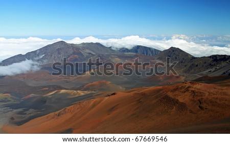 Caldera of the Haleakala volcano (Maui, Hawaii) - stock photo