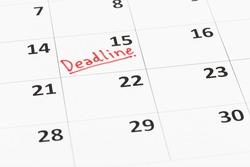 Calendar and deadline written