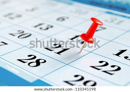 calendar and marked the date the pushpin