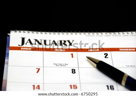 Calendar and pen concept of new year - stock photo