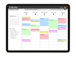 Calendar app sample interface design on tablet computer