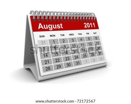 Calendar 2011 - August - stock photo