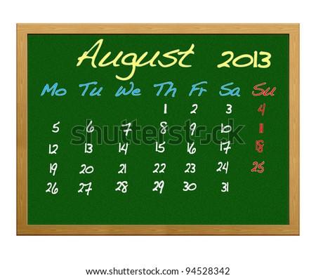 Calendar 2013, August.