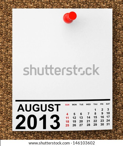 Calendar August 2013 on blank note paper with free space for your text