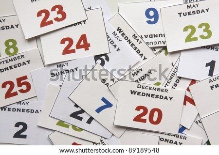 Calendar cards with week days and months, from above