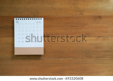 calendar december 2017 on wooden background with copy space #693320608
