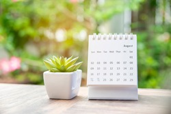 Calendar desk for Planner and organizer to plan and reminder daily appointment, meeting agenda, schedule, timetable, and management. Cactus and calender placed on office table. Work online from home.