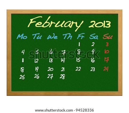 Calendar 2013, February.