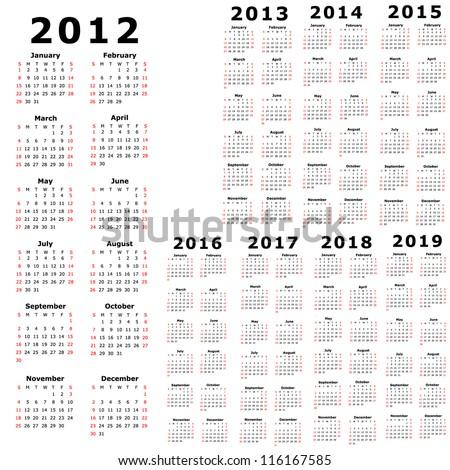 Calendar for 2012, 2013, 2014, 2015, 2016, 2017, 2018, 2019