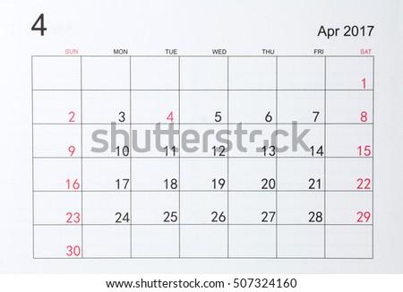 Calendar for April 2017 #507324160
