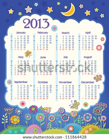 Calendar for 2013. Cloud in the night sky. Children applique flowers. Week starts on Monday. raster version