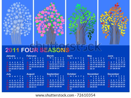 Calendar for 2011. four season tree. american style.Similar image in Vector format  in my portfolio.