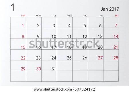 Calendar for January 2017 #507324172