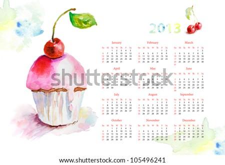 Calendar for 2013 Watercolor illustration of cake