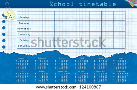 Calendar for 2013. Week starts on Monday. Leaf in the cage for the school schedule. School timetable. raster version