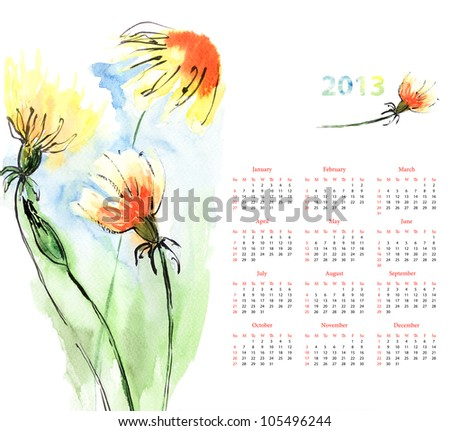 Calendar for 2013 with Dandelion