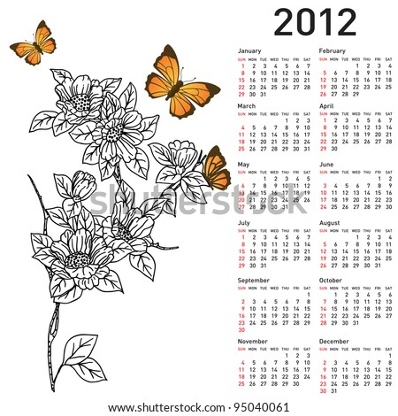 Calendar for 2012 with  flowers. Vector version also available in portfolio.