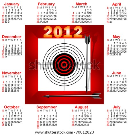 Calendar for 2012 with icon Target and arrows. The American style. Raster version.