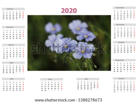 Calendar for 2020 year, nature motive, 600 DPI